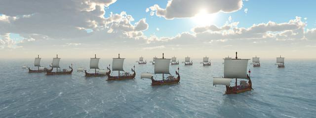 Kriegsschiffe aus dem antiken Rom