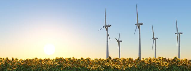 Windkraftanlagen in einem Sonnenblumenfeld bei Sonnenuntergang
