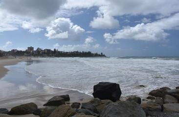 View of Kings beach on a cloudy stormy day (Caloundra, Sunshine Coast, Queensland, Australia).