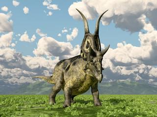 Dinosaurier Diabloceratops in einer Landschaft