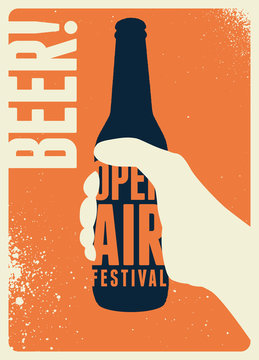 Beer open air festival typographical vintage style poster design. Retro vector illustration.