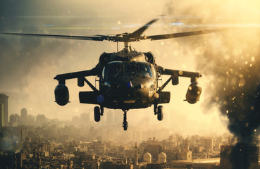 Photo sur Plexiglas Hélicoptère Military helicopter between smoke in destroyed city and it is landing to mount soldiers