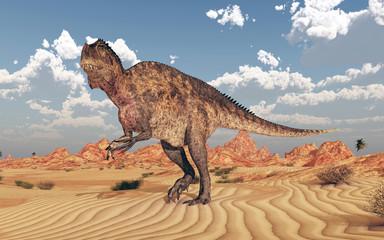 Dinosaurier Acrocanthosaurus in einer Wüstenlandschaft