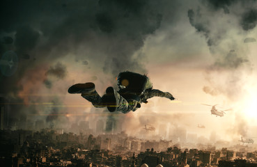 Military forces with parachute in top of destroyed city in the air. Wall mural