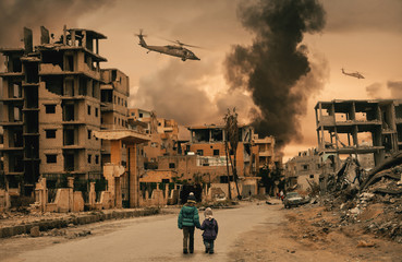 Two homeless little girl walking in destroyed city, soldiers and helicopters and tanks are still attacking the city