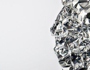 piece of crumpled foil on a white background