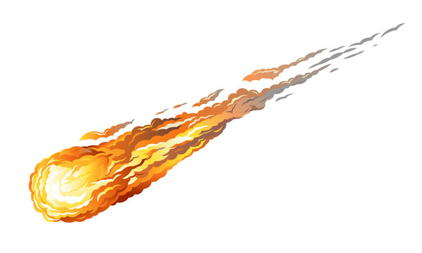 Falling asteriod with long fiery tail, isolated on white