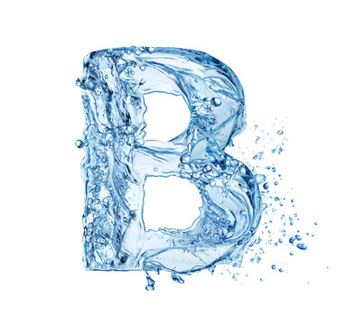 letter B made of water splash isolated on white background