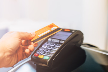 Payment terminal charging from a card Wall mural