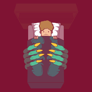 Child room with monster hands coming out under the bed vector illustration. Dark, fear, bedtime, monster, creature, nightmare design concept