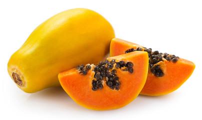 Fototapete - Fresh papaya on white background