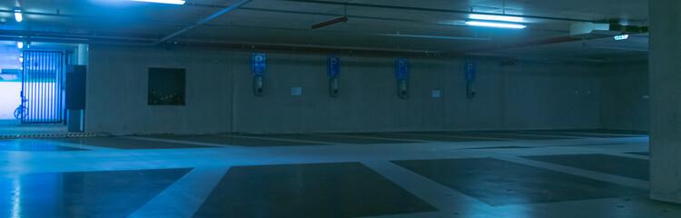 empty parking lot in blue light Fototapete