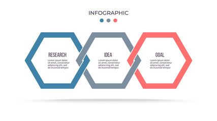 Business process. Infographic with 3 steps, options, hexagons. Vector template.