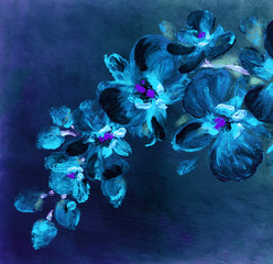 Orchid flowers. Abstract oil painting