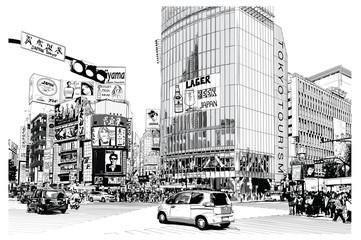 Door stickers Art Studio TOKYO, famous Shibuya crossroad