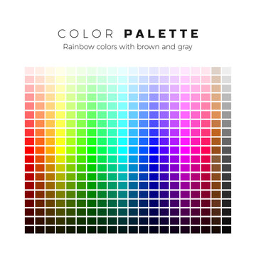 Colorful palette. Set of bright colors of rainbow palette. Full spectrum of colors with brown and gray shades. Vector illustration