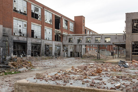 Leftover remnants of an abandoned red brick factory left to rot