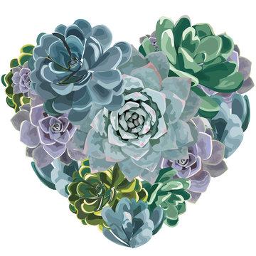 Beautiful floral heart shape. Valentine card. Love gift. Vector illustration