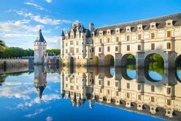 Chateau de Chenonceau is a french castle spanning the River Cher near Chenonceaux village, Loire valley in France