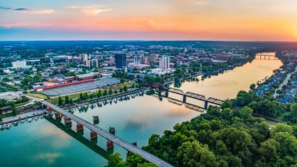 Savannah River and Augusta, Georgia, USA Aerial Wall mural