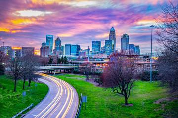 Downtown Charlotte, North Carolina, USA Skyline at Sunset Wall mural