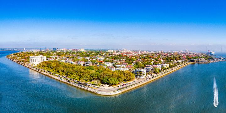 Charleston South Carolina Battery Aerial Panorama