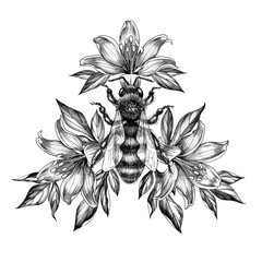 Hand Drawn Monochrome Bee with Lily Flowers