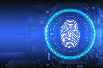 Fotobehang - Blue online identification fingerprint interface