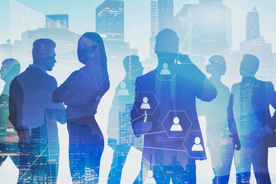 Business people in city, social connection icons