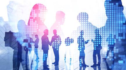 Fotobehang - Business team in city, international company