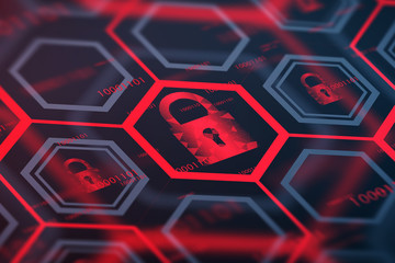 Fotobehang - Red online security digital button