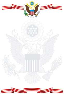 Illustration of a sheet of paper with the symbols of the United States of America