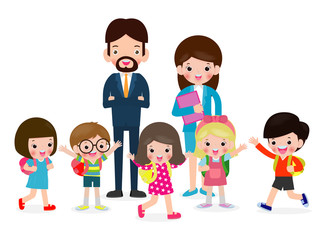 teacher with kids isolated on white background vector illustration