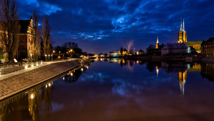 Printed kitchen splashbacks Amsterdam View of the evening panorame of the old city.Wroclaw, Poland.