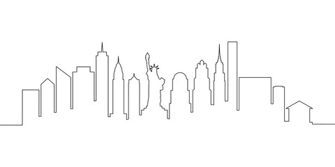 New York city skyline single line, vector illustration