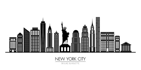 New York city skyline silhouette flat design, vector illustration Wall mural
