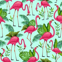 Pink Flamingos and Tropical Leaves Vector Seamless Pattern Design