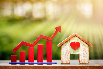 Home with red heart and bar graph with growing value put on table on bokeh background in the public park, for financial business investment and fund real estate concept.