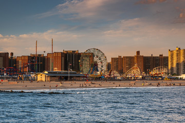 Sunset on the beach of Luna Park in Coney Island New York City