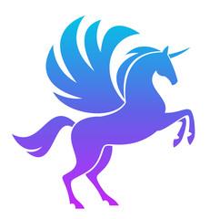 Blue Pegasus on a white background