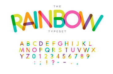 Obraz Rainbow letters and numbers set. Festival style vector latin alphabet. Font for events, birthday, kids promotions, festival logos, banner, monogram and poster. Typography design. - fototapety do salonu
