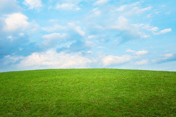 Beautiful simple hill landscape with clouds background