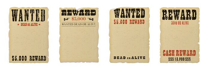 Wanted dead or alive blank poster template with grunge textured typography and ripped vintage faded yellow paper isolated on white background. Wall mural