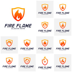 Set of Fire Shield Logo Design Vector Template. Shield Fire Logo Concept. Icon Symbol.
