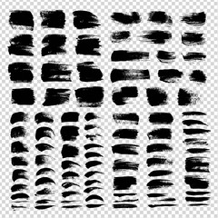 Abstract black textured smears very big set isolated on imitation transparent background