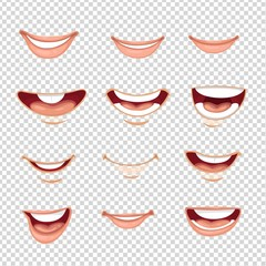 Cartoon mouth male and female with various expressions on imitation transparent background