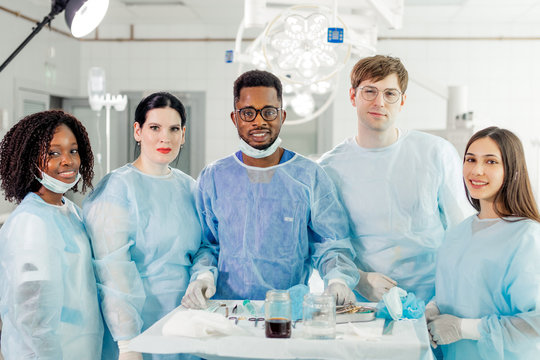 Group of talented multiracial doctors and nurses in a hospital. close up photo. clever mixed race surgeons are ready for operation