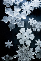 Close up view of snowflake patterns