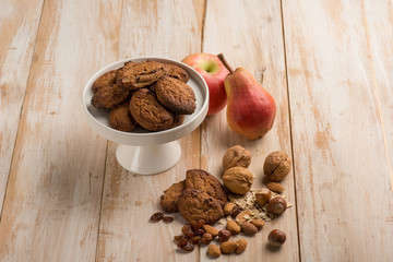 cookie with almond hazelnut dried grape and pears