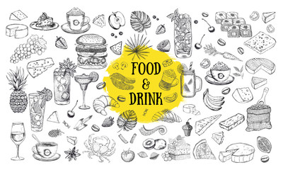 Vector set with food and drink hand drawn